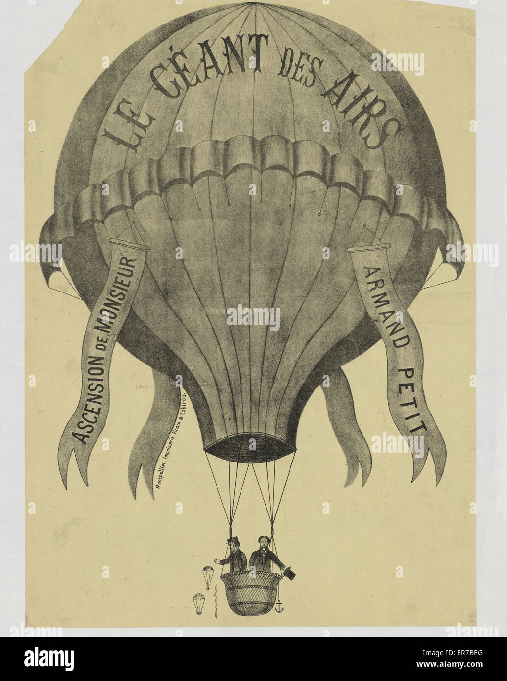Le Geant des airs. Ascension de Monsieur Armand Petit. Print shows two men ascending in balloon labeled Le Geant - Stock Image