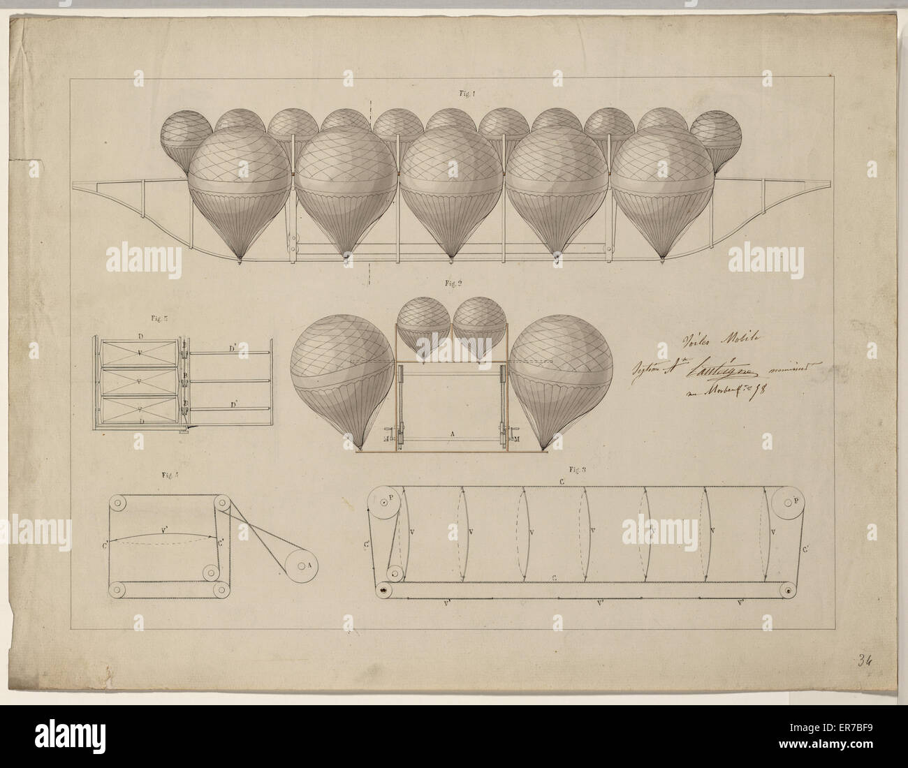 Voiles mobile. System Ate. Lanteigne menuisier. Design drawings for a system of airship navigation proposed by Aug. Stock Photo