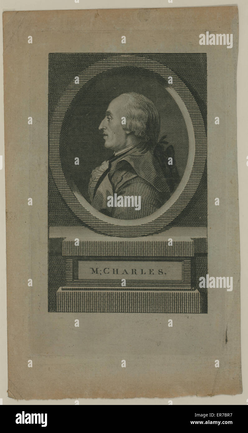 M. Charles. Head-and-shoulders profile portrait of French balloonist JAC. Charles, who made the first flight in Stock Photo