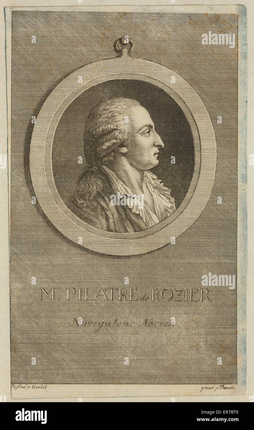 M. Pilatre de Rozier, navigateur aerien. Bust-length profile portrait of French balloonist Pilatre de Rozier. Date Stock Photo