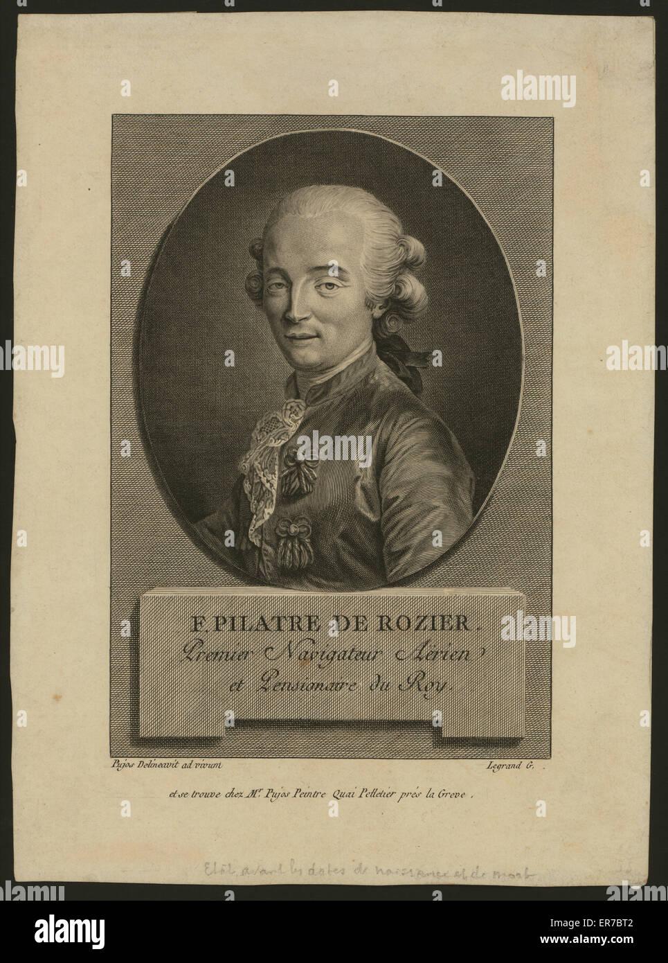 F. Pilatre de Rozier. Premier navigateur aerien et pensionaire du roy. Oval head-and-shoulders portrait of French - Stock Image