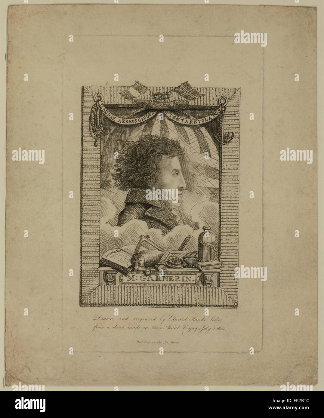 M. Garnerin. Head-and-shoulders profile portrait of French balloonist and parachutist, AJ Garnerin, with banner Stock Photo