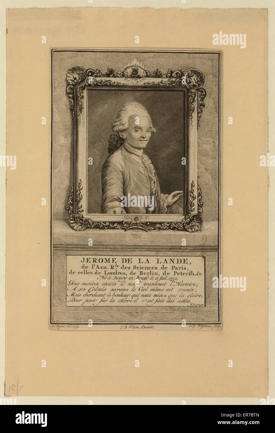 Jerome de La Lande, de l'Aca. rle. des sciences de Paris, de celles de Londres, de Berlin, de Petersb., &c. - Stock Image