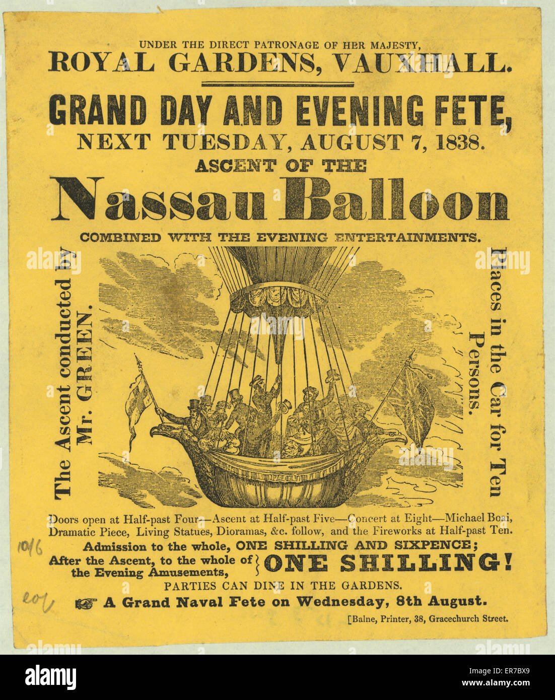 Royal Gardens, Vauxhall. Grand day and evening fete, next Tuesday, August 7, 1838. Ascent of the Nassau Balloon, - Stock Image