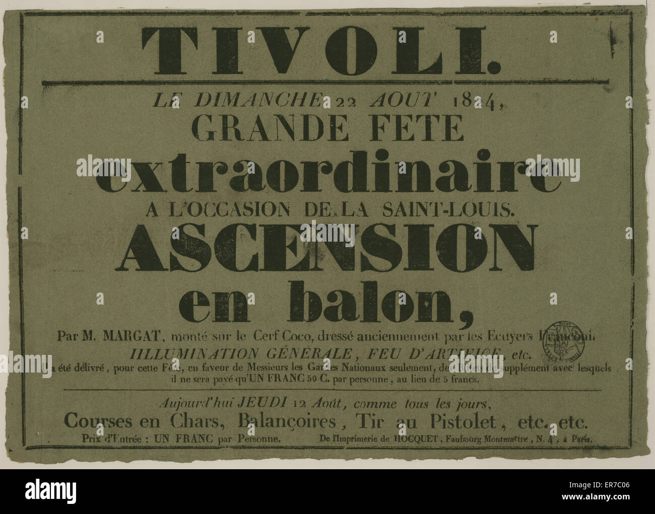 Tivoli. Le dimanche 22 aout, 1824, grand fete extraordinaire a l'occasion de la Saint-Louis. Ascension en balon, - Stock Image
