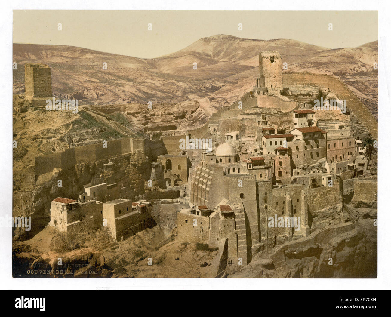 The convent, Mar-Saba, Holy Land, (i.e., West Bank). Date between ca. 1890 and ca. 1900 - Stock Image