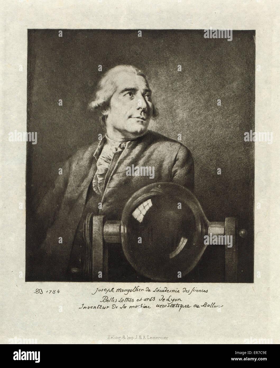 Joseph Montgolfier de l'Academie des sciences, belles lettres, et artes de Lyon, inveniteur de la machine aerostatique - Stock Image