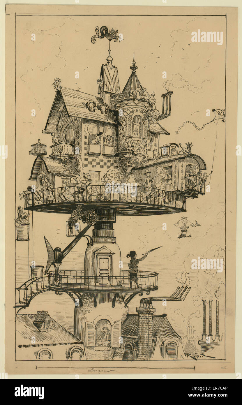 Maison tournante aerienne. Drawing shows a dwelling structure elevated above rooftops and designed to revolve and - Stock Image