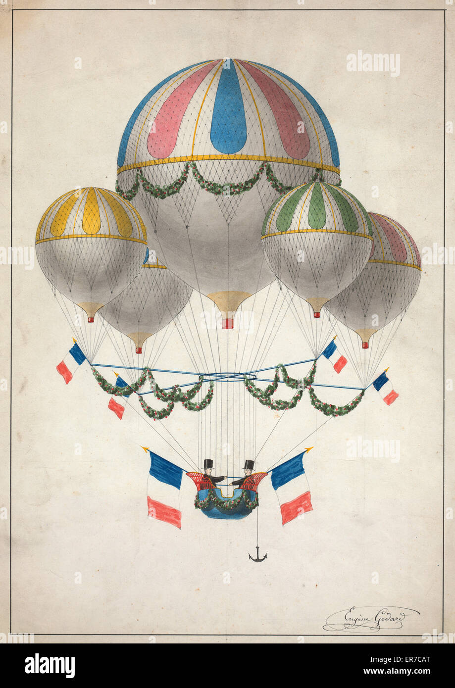 A lighter-than-air craft, consisting of one large balloon and four smaller balloons harnessed together, decorated - Stock Image