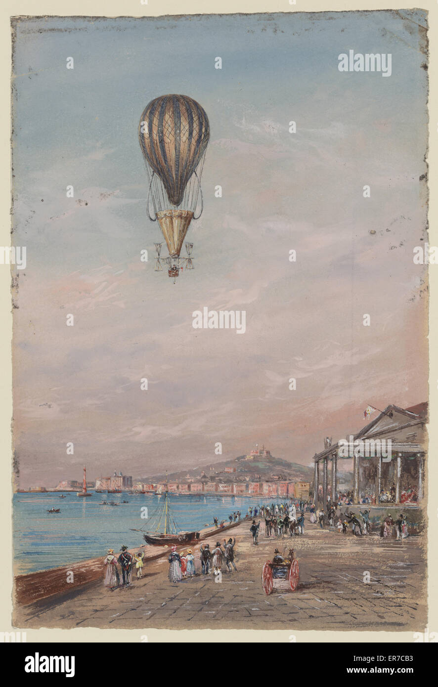 Balloon with parachute and propellers, associated with Francesco Orlandi, flying over a town harbor and spectators, Stock Photo