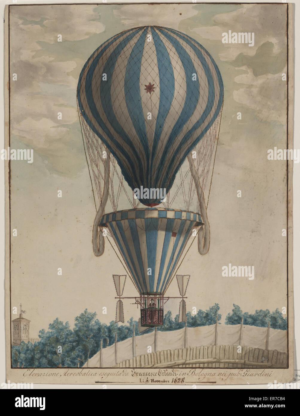 Elevazione aereobatica eseguita da Francesco Orlandi in Bologna nei pub. i Giardini, li 6 novembre 1828. Drawing - Stock Image