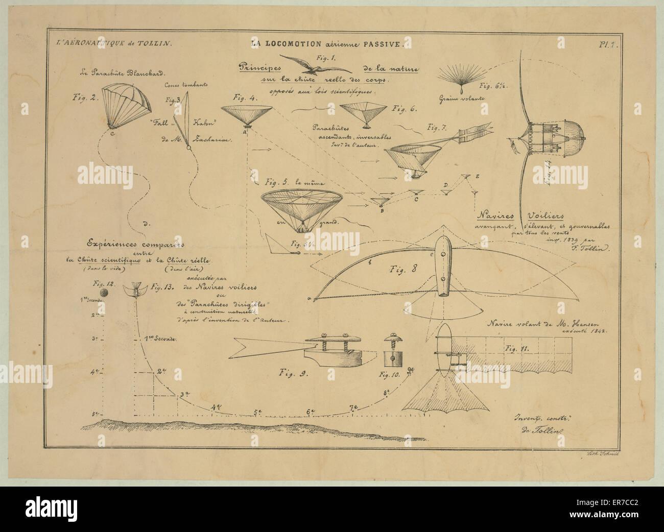 La locomotion aerienne passive. Principes de la nature sur la chute reelle des corps, oppose aux lois scientifiques - Stock Image