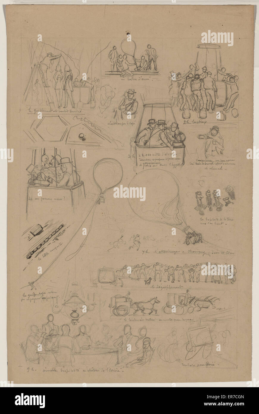 Pencil sketch for sixteen vignettes from the lives of French balloonists Albert and Gaston Tissandier. Drawing shows - Stock Image