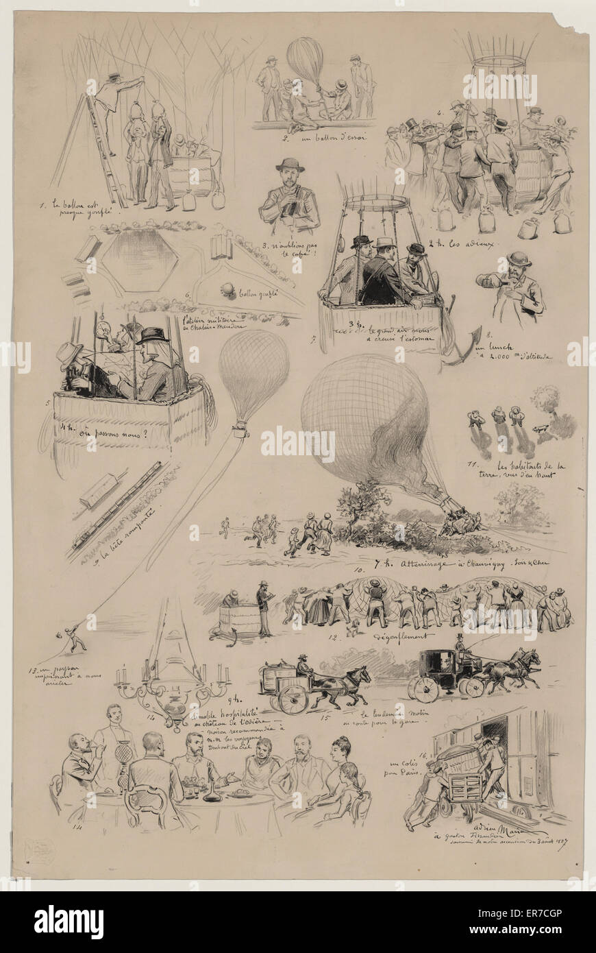Sixteen vignettes from the lives of French balloonists, Albert and Gaston Tissandier. Drawing shows preparation - Stock Image