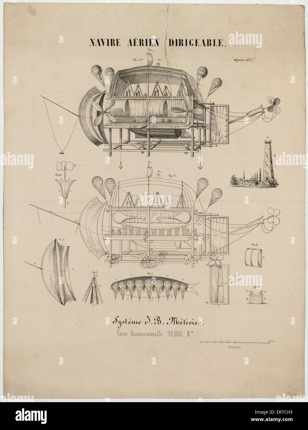 Navire aerien dirigeable. Systeme JB Metivier, force ascensionnelle 90,000 kos. Scaled design drawing for a patent - Stock Image