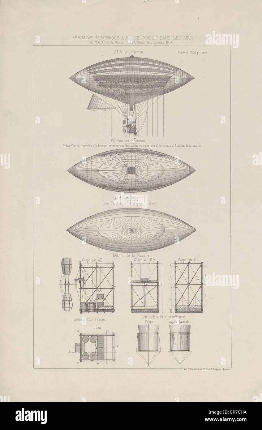 Aerostat electrique a helice conduit dans les airs. Design drawings show several views of an electric powered airship - Stock Image