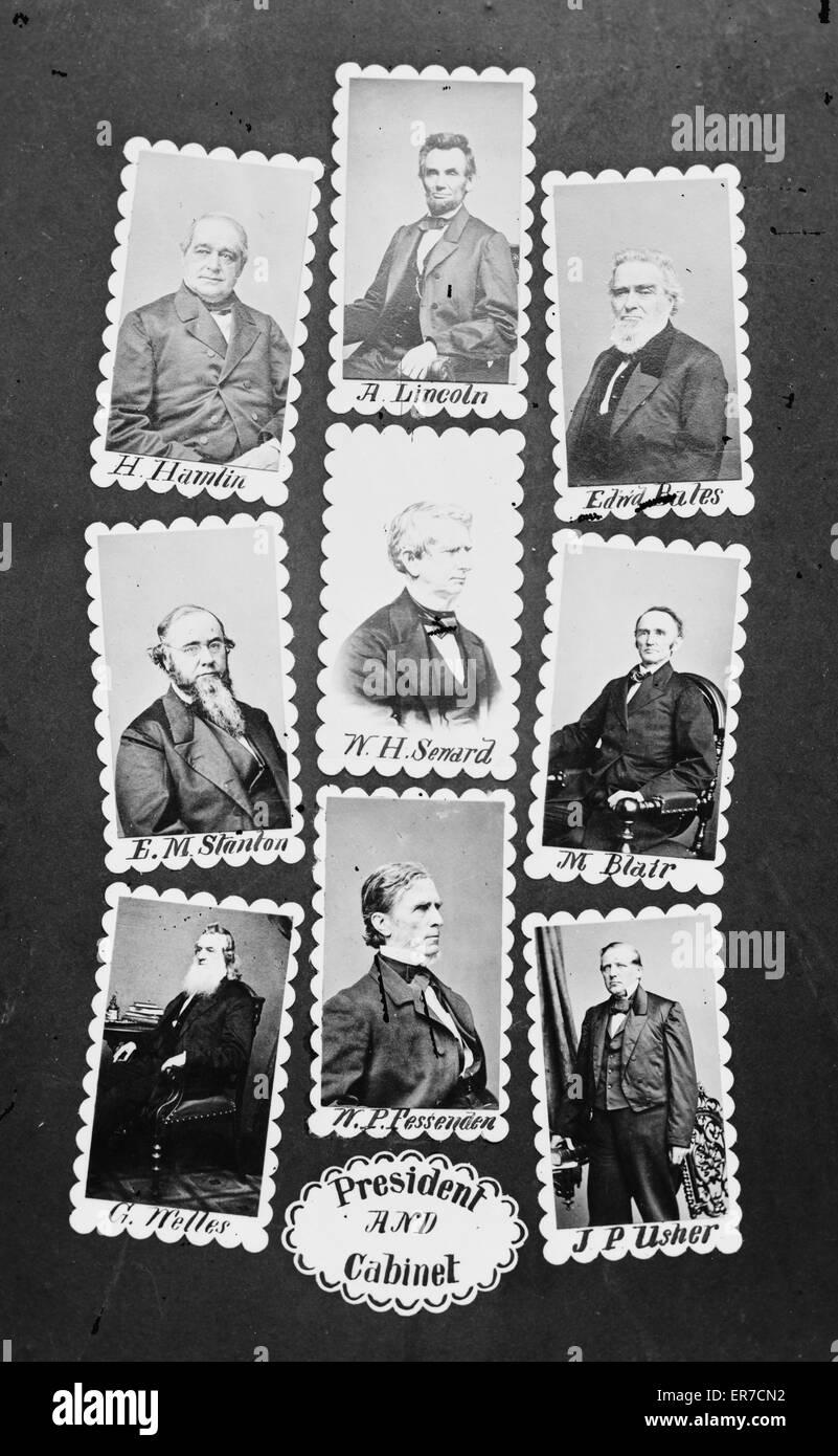 President and Cabinet: H. Hamlin, A. Lincoln, Edw'd Bates, EM Stanton, WH Seward, M. Blair, G. Welles, WP Fessenden, - Stock Image