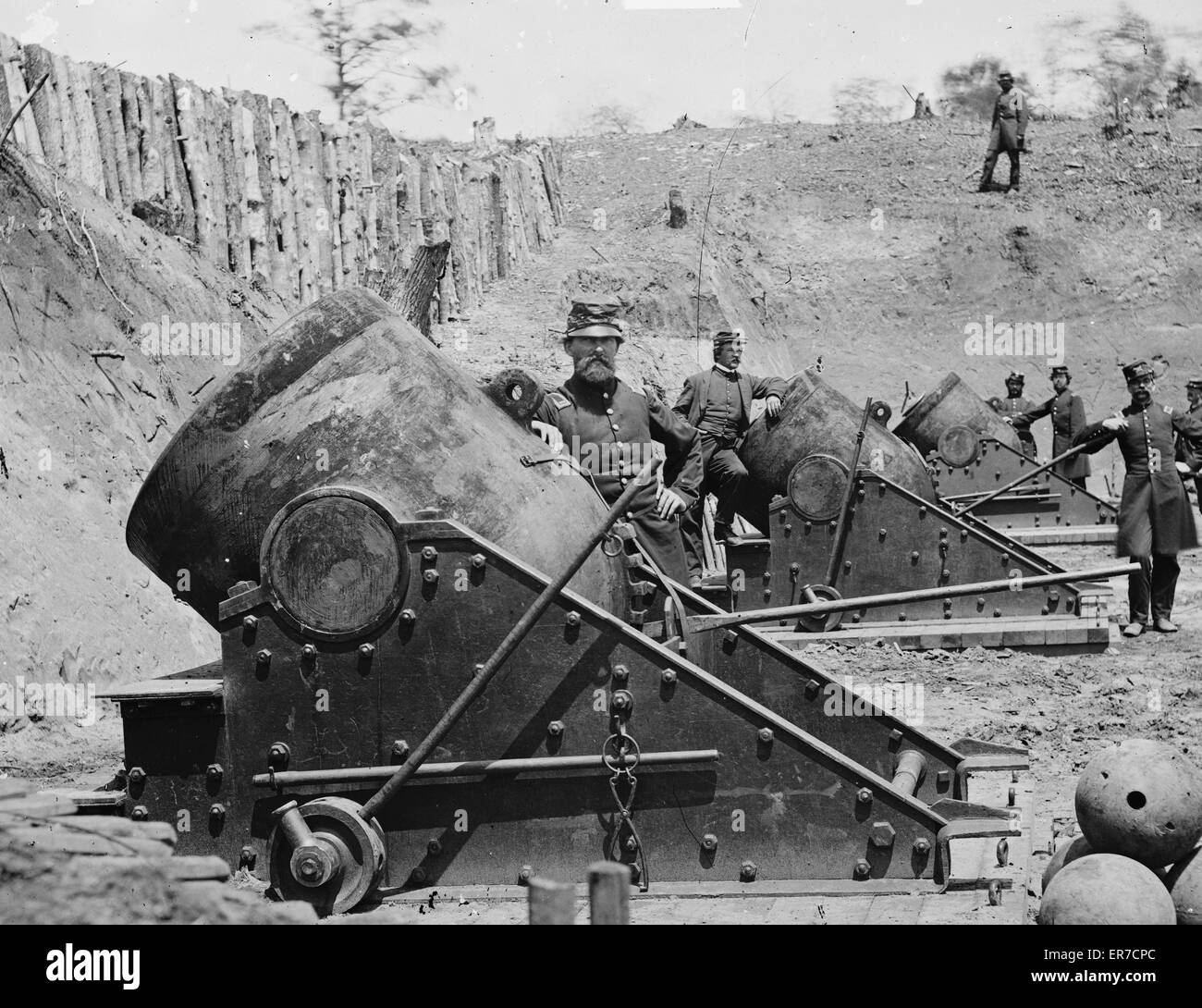 Yorktown, Virginia. Battery No. 4 mounting 13-inch mortars. South end. Date 1862 May. - Stock Image