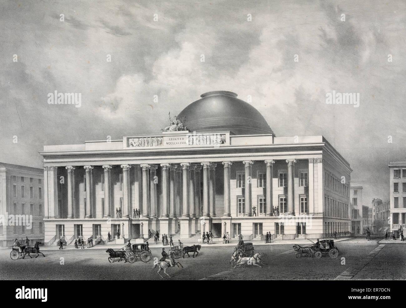 Merchant's Exchange, New York. Date c1837 June 8. - Stock Image