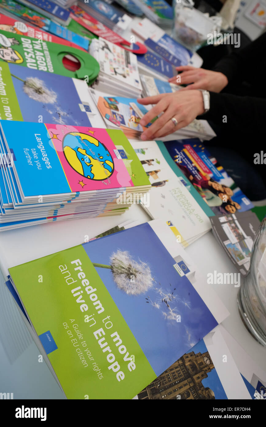 European Union EU promotional stand at the Hay Festival UK with a wide range of EU EC marketing material primarily - Stock Image