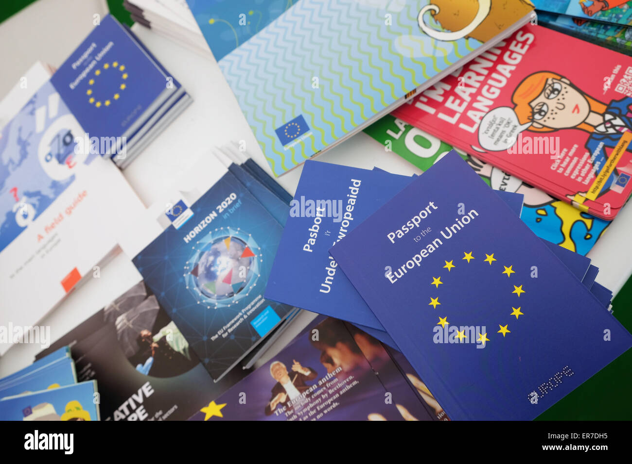 European Union EU promotional stand at the Hay Festival UK with a wide range of marketing material primarily aimed - Stock Image