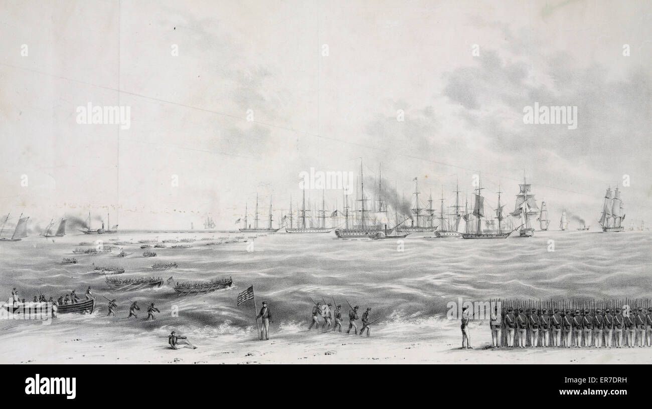 Landing of the U.S. Army under General Scott, on the beach near Vera Cruz March 9th, 1847. - Stock Image
