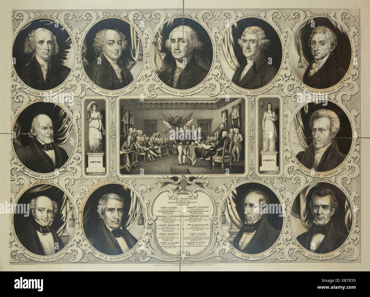 The presidents of the United States. Date c1846 Dec. 19. - Stock Image