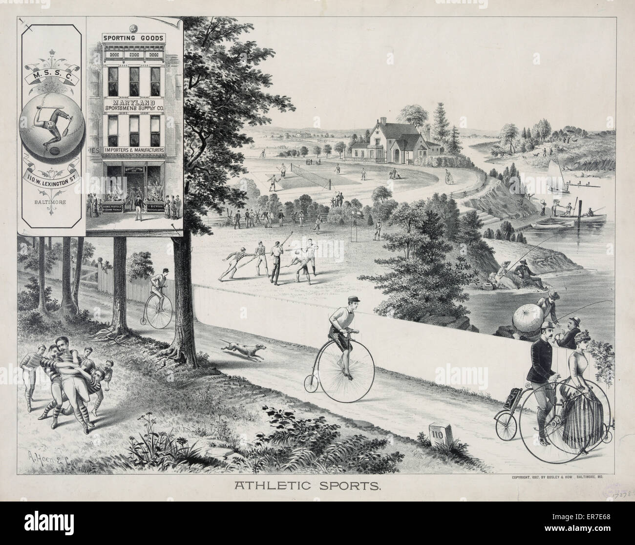 Athletic sports. Date c1887 July 12. - Stock Image