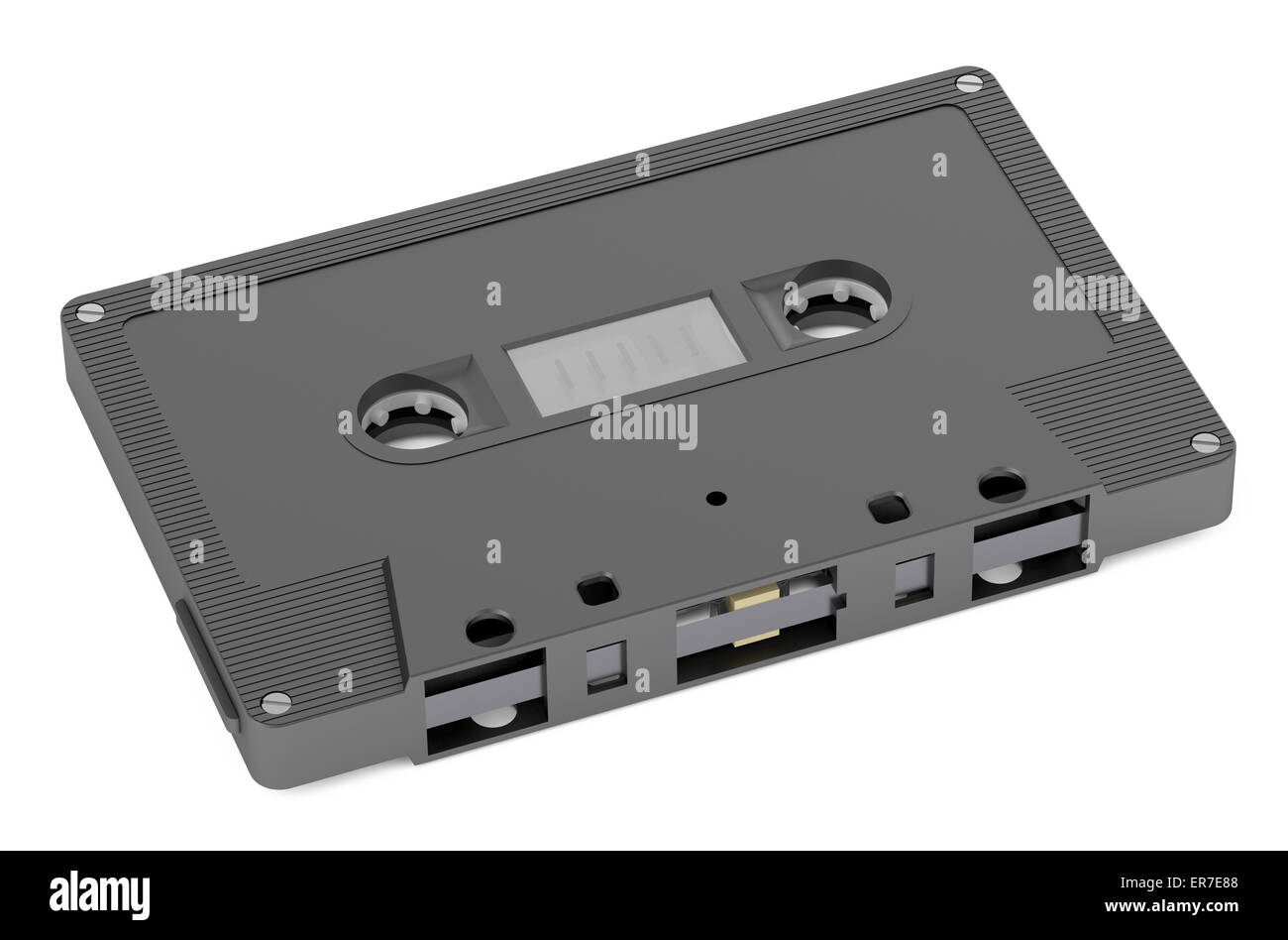 Black Audio Cassette  isolated on white background - Stock Image