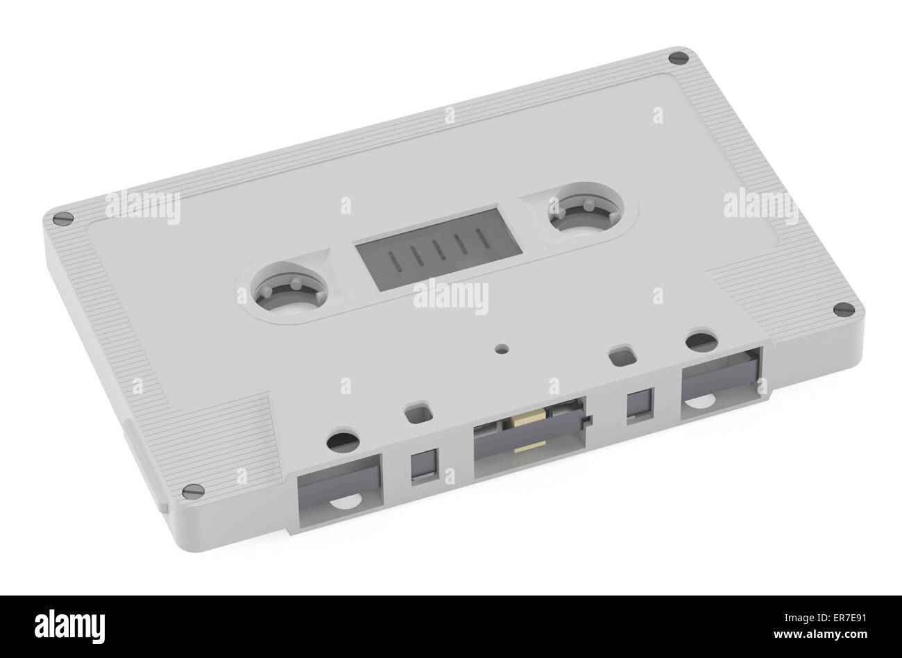 White Compact Cassette  isolated on white background - Stock Image