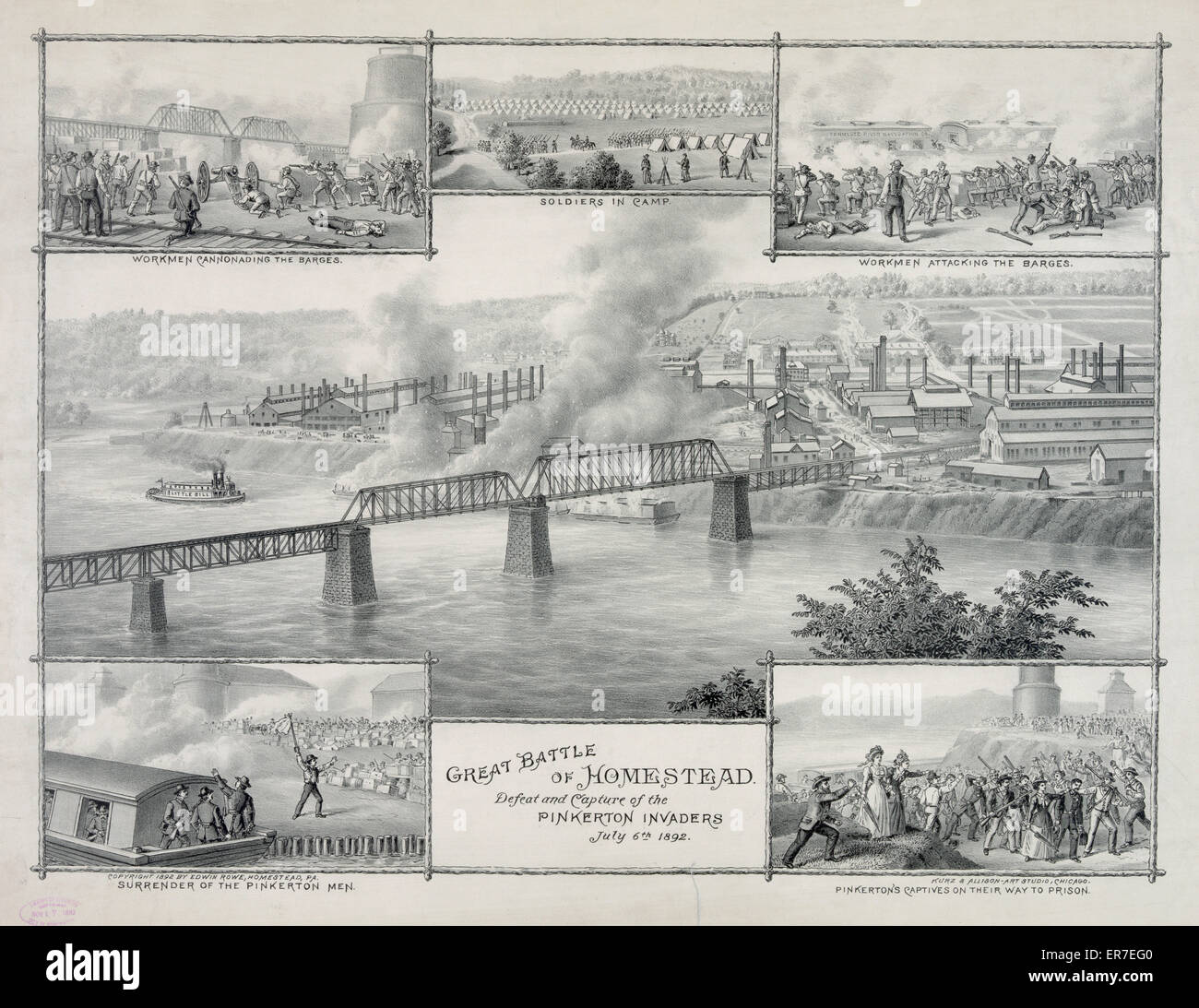 Great Battle of Homestead. Date c1892. - Stock Image