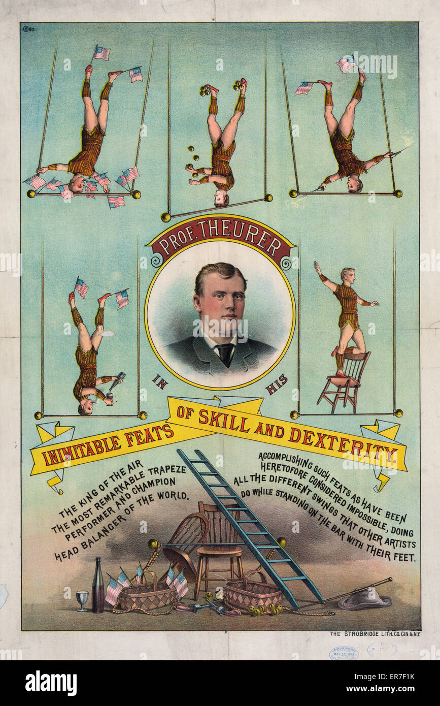 Prof. Theurer in his inimitable feats of skill and dexterity. Date c1883 May 11. - Stock Image