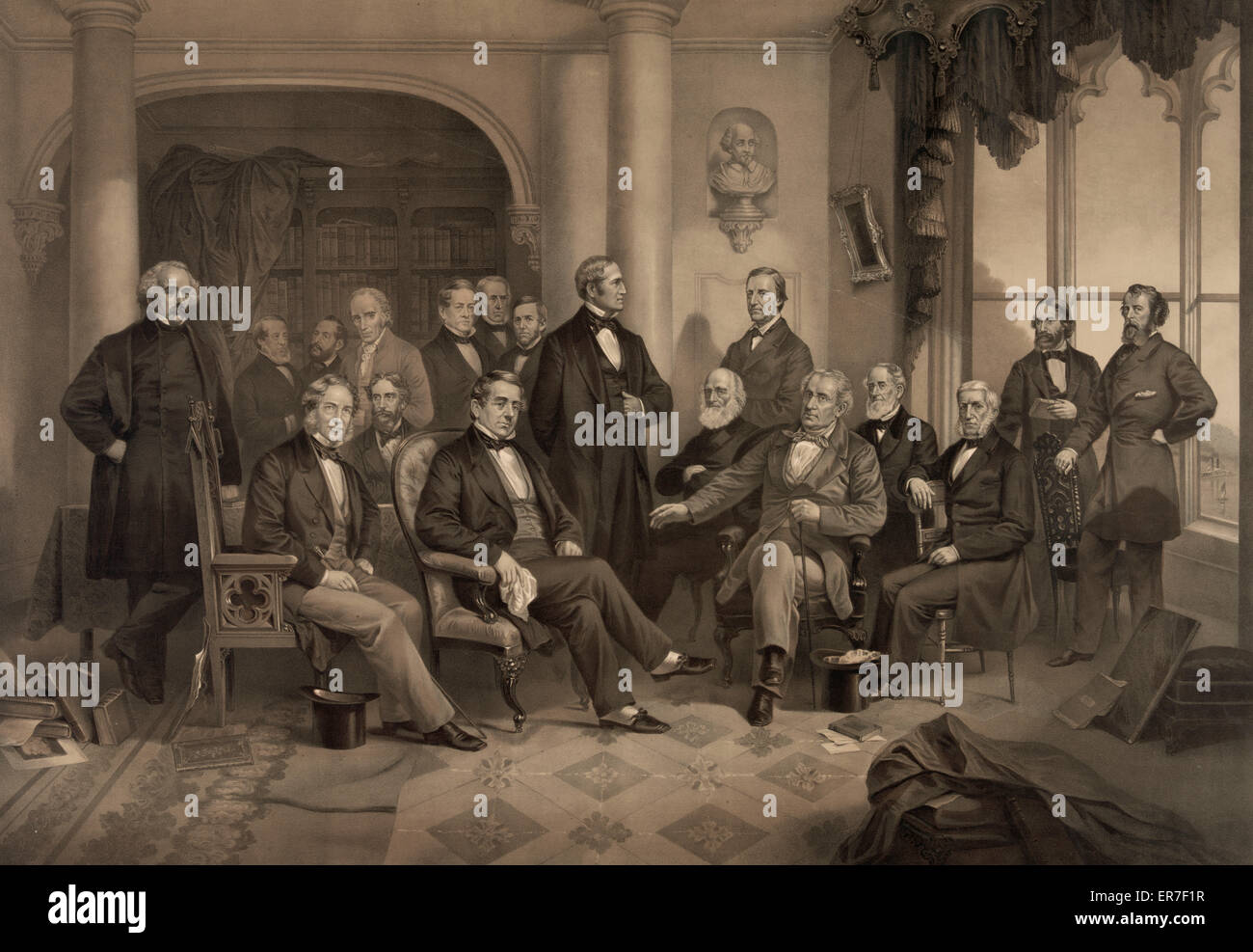 Our great authors. A literary party at the home of Washington Irving. Date c1865. - Stock Image