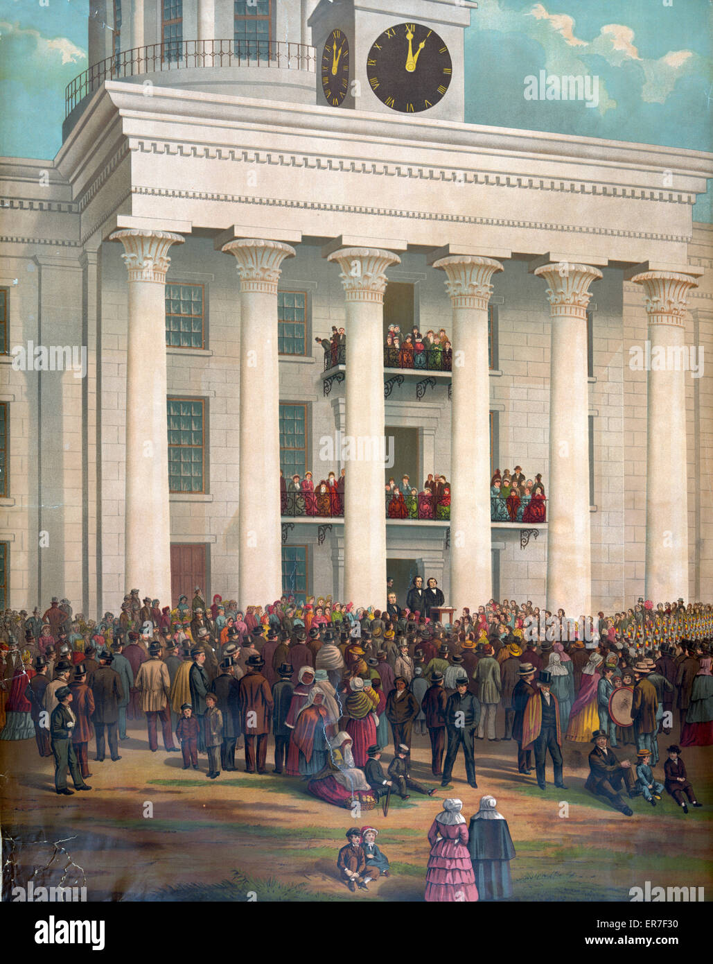 The starting point of the great war between the states. Inauguration of Jefferson Davis. Date c1878. - Stock Image