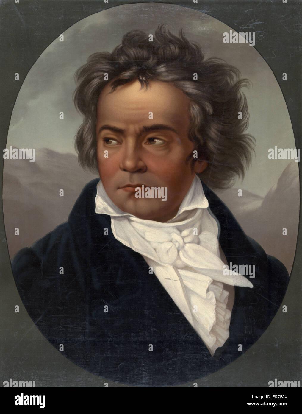 Ludwig Van Beethoven. Date c1870. - Stock Image