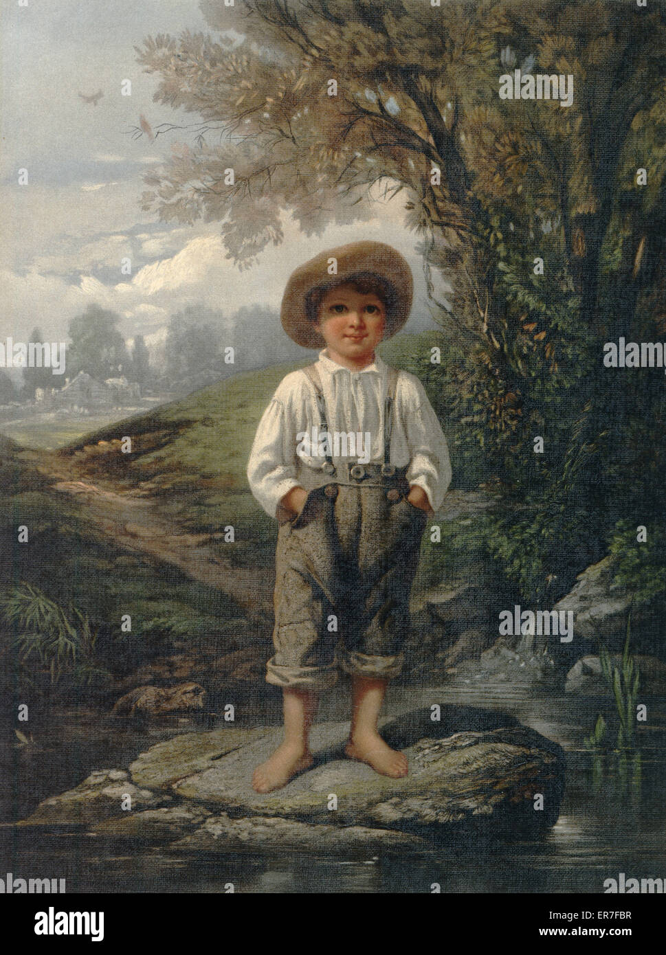 Whittier's barefooted boy. Print shows a full-length portrait of a young, barefoot boy standing on a rock in - Stock Image