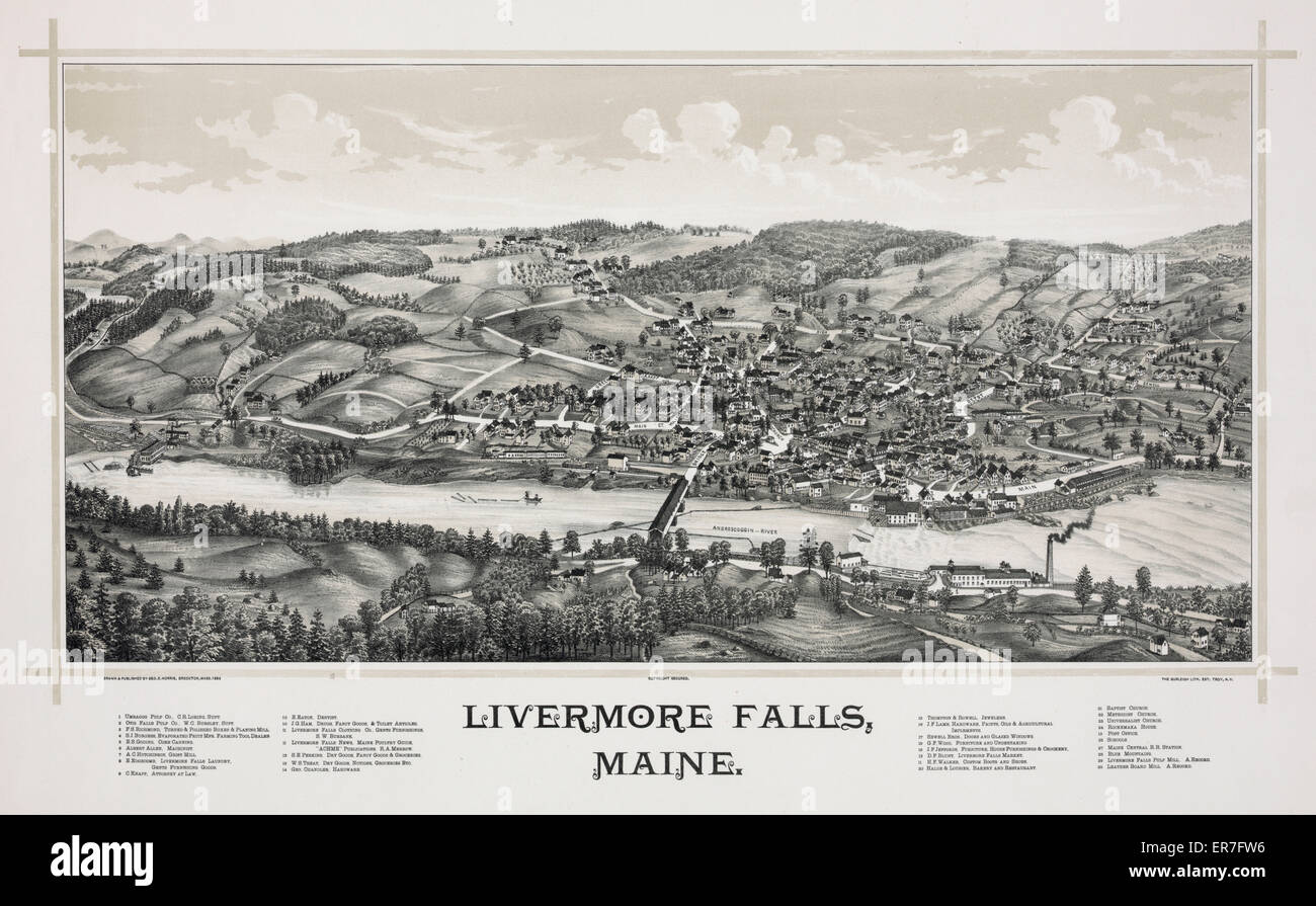 Livermore Falls, Maine. Date c1889 May 20. - Stock Image
