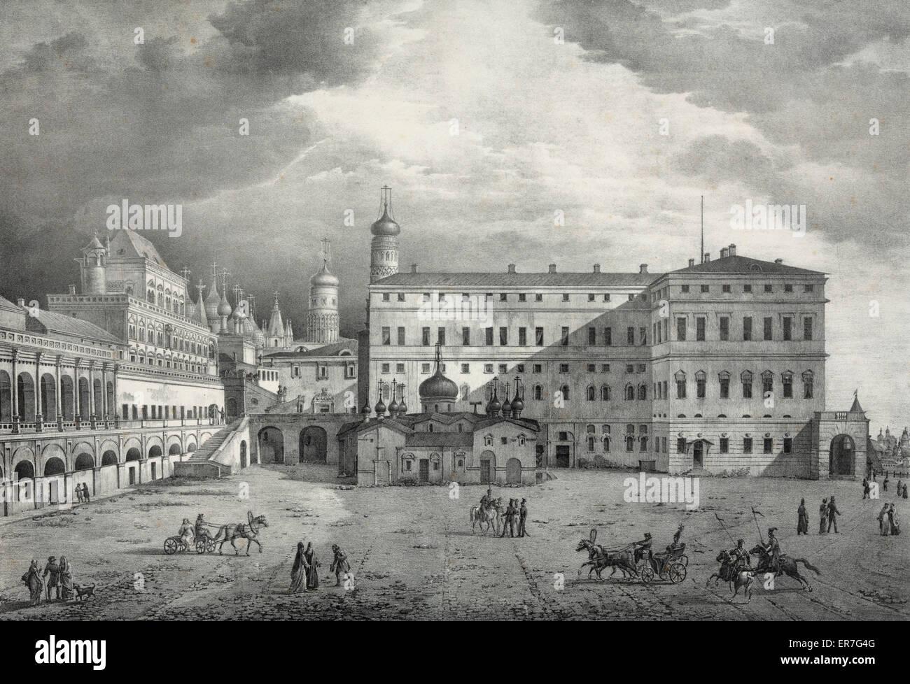 Vue de l'ancien palais des tsars, prise dans interior du cremlin. - Stock Image