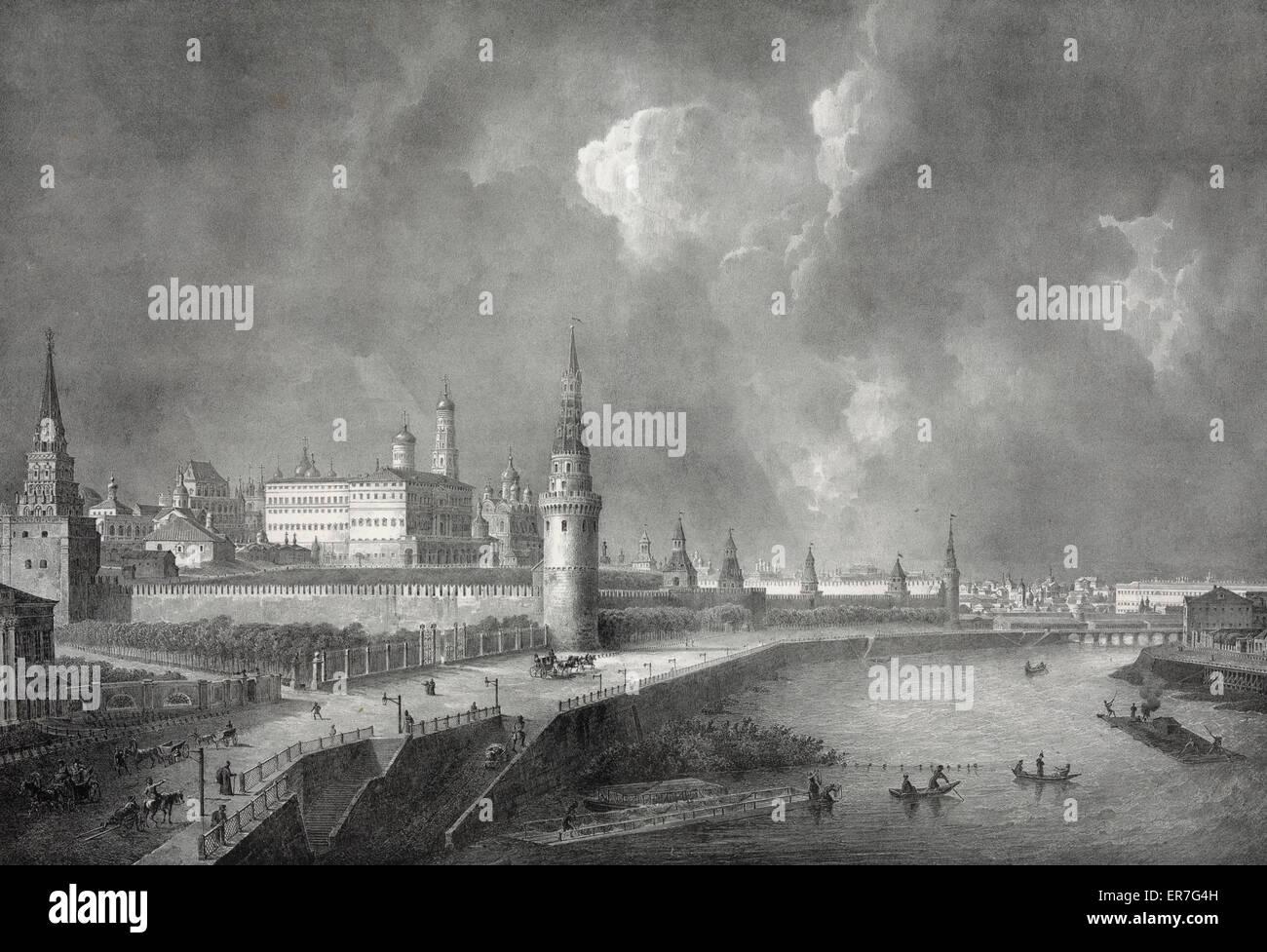 Vue du cremlin, prise de pont de Pierre. - Stock Image