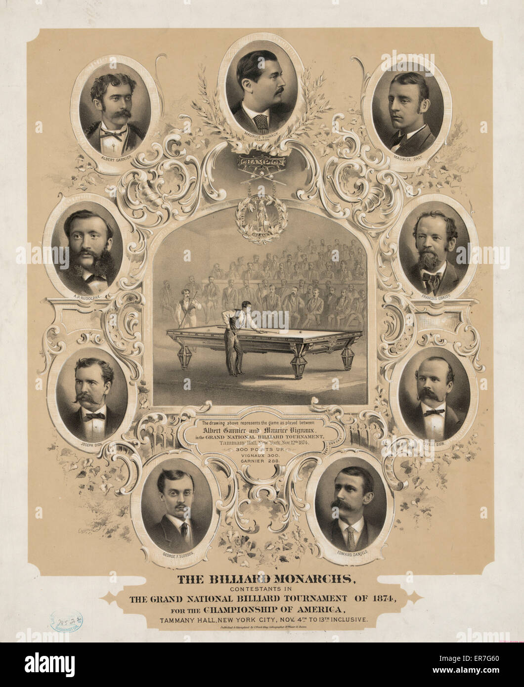The billiard monarchs, contestants in the grand national billiard tournament of 1874, for the championship of America. - Stock Image