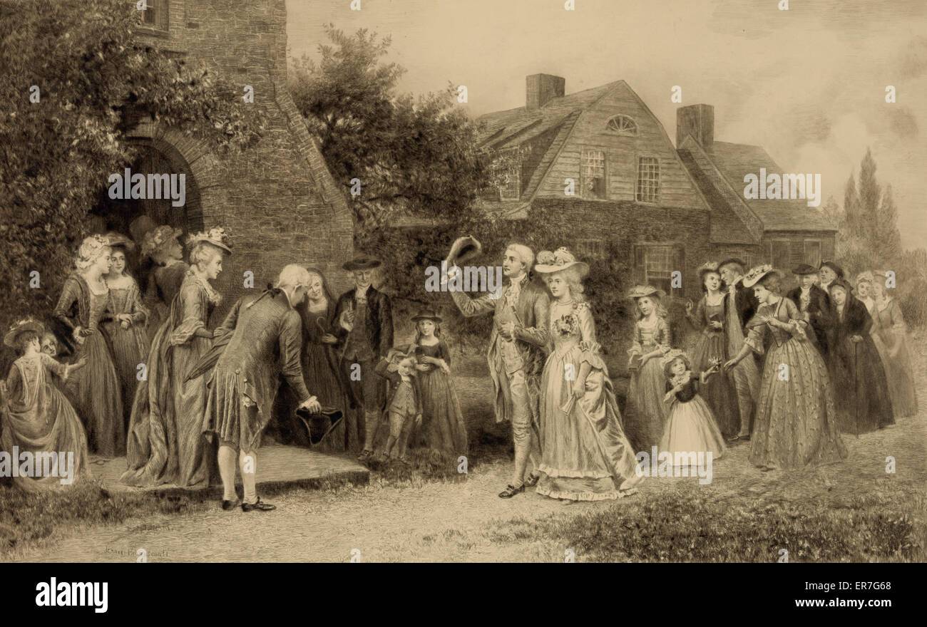 The return from the honeymoon. Date c1898 Oct. 25. - Stock Image