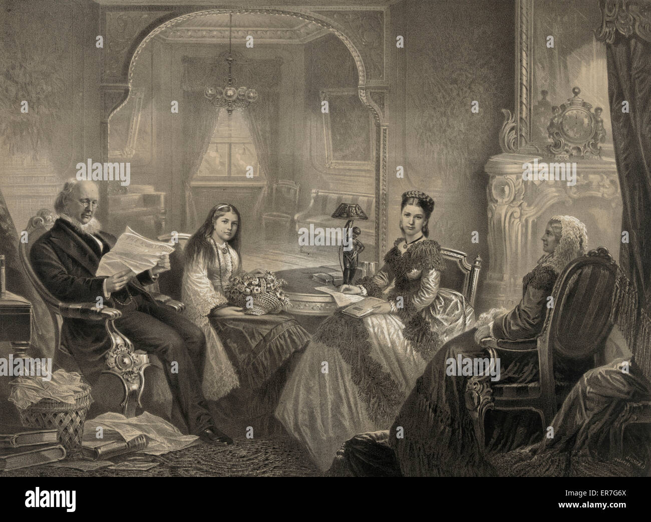 Horace Greeley and family. - Stock Image