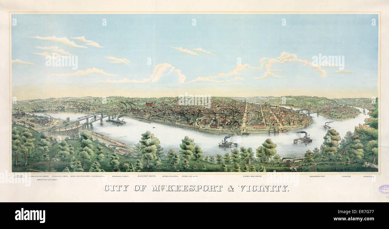 City of McKeesport & vicinity. Date c1893 Nov. 20. City of McKeesport & vicinity. Date c1893 Nov. - Stock Image