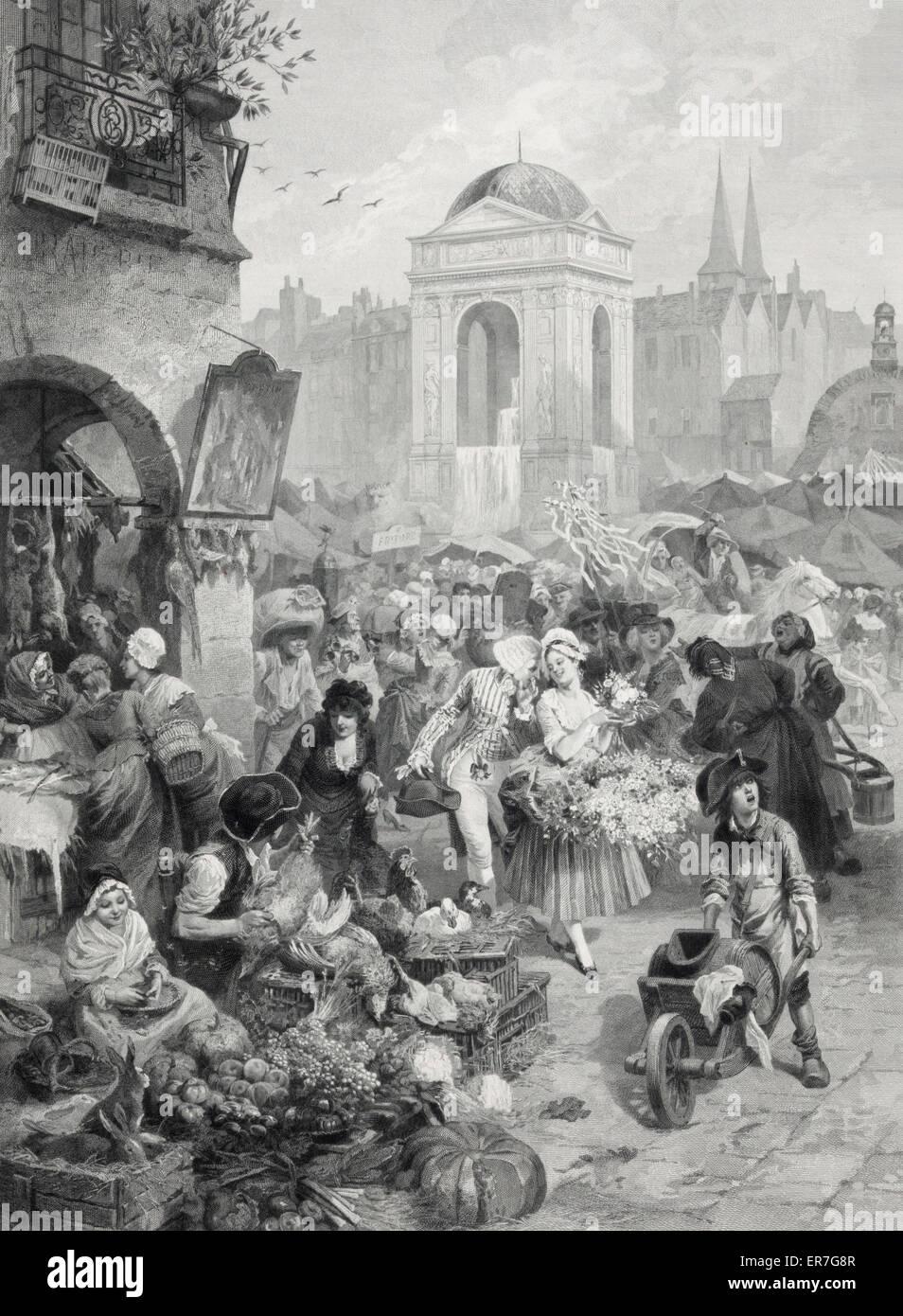 La fontaine des innocents au 18 Siecle. Date c1878. Stock Photo