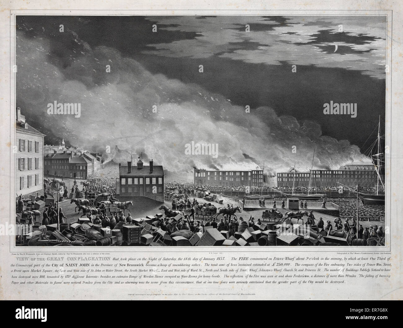 View of the great conflagration. - Stock Image