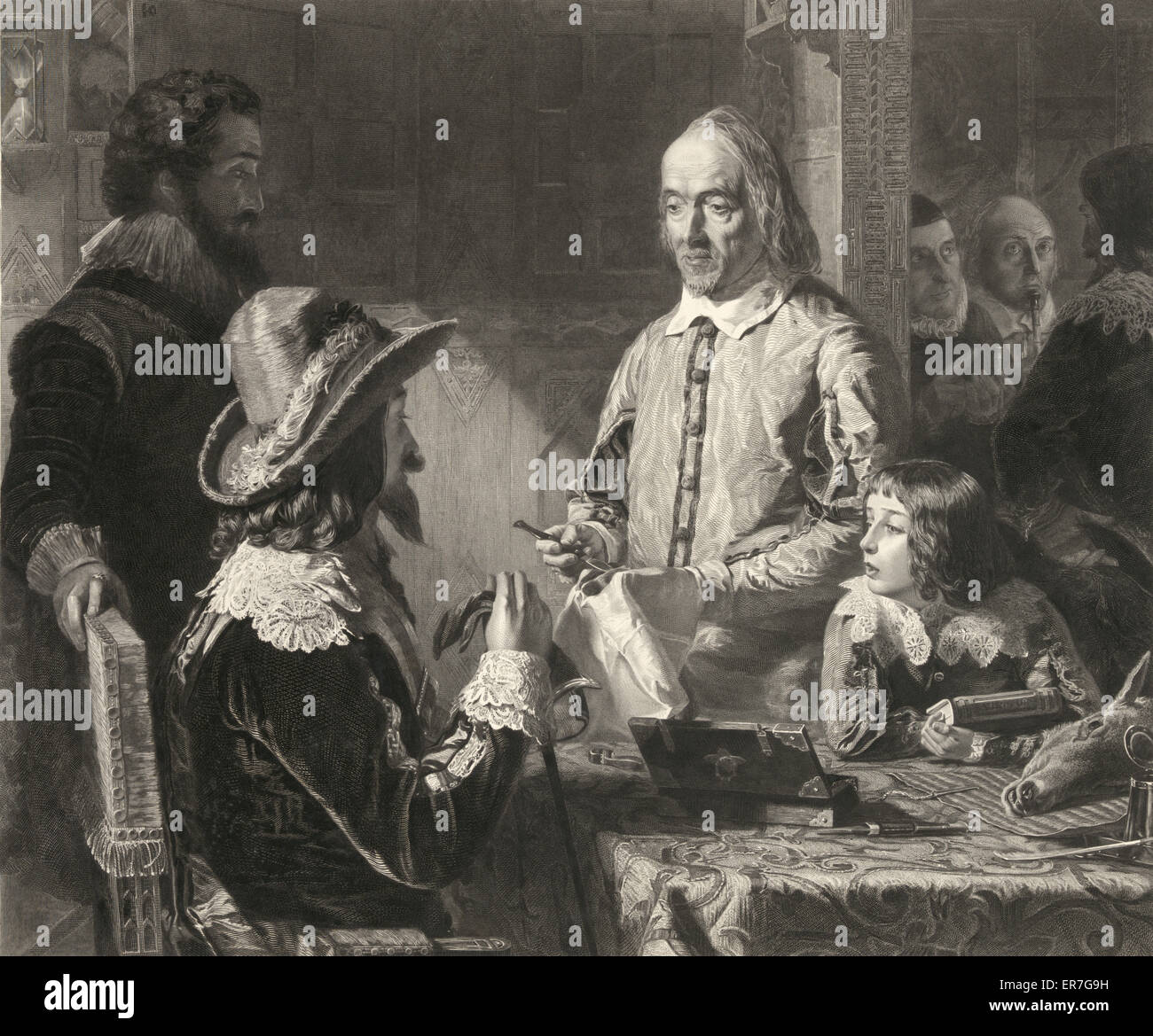 Harvey demonstrating to Charles the first his theory of the circulation of the blood. - Stock Image