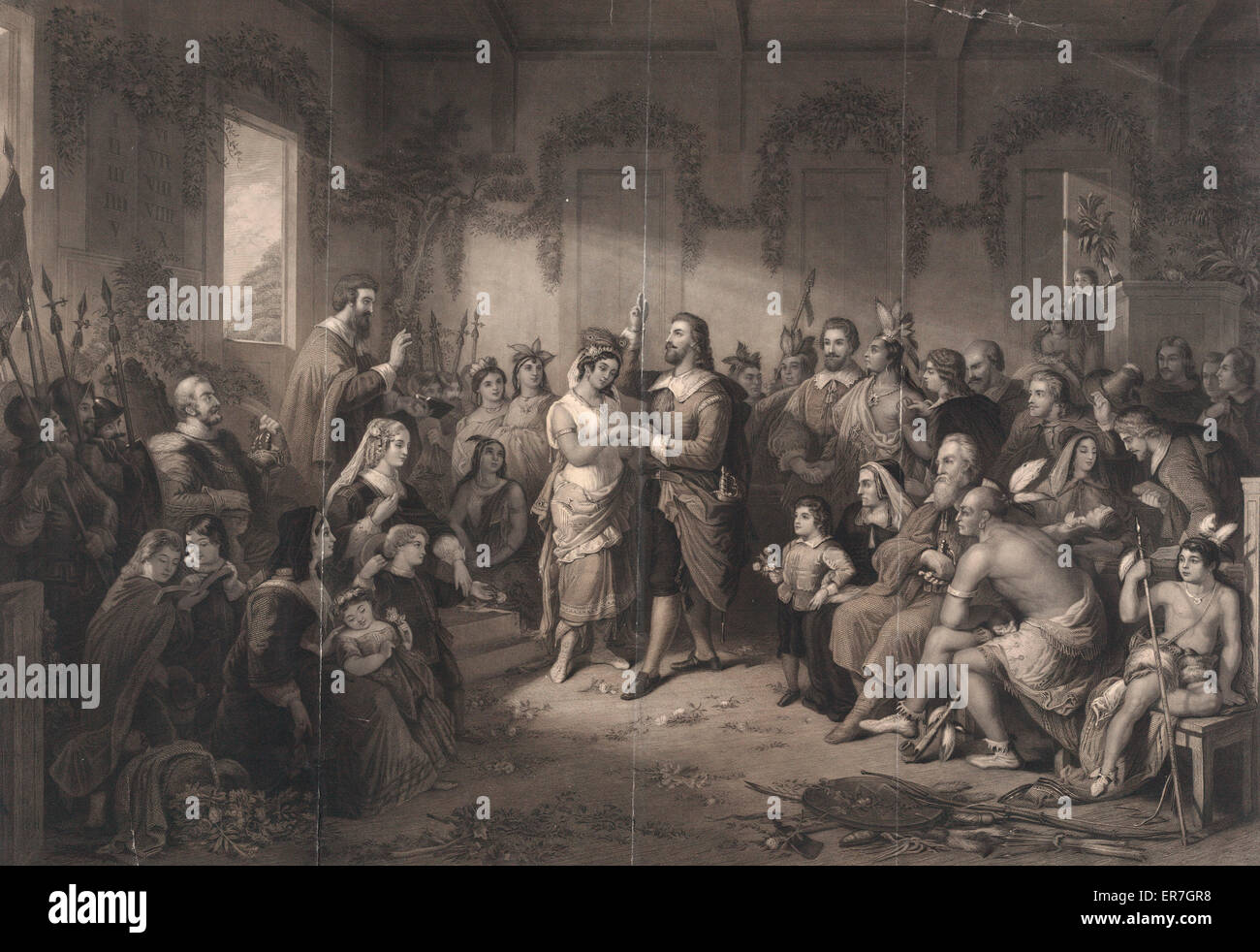 The marriage of Pocahontas, from the original picture in the possession of the publisher. Date c1855. - Stock Image
