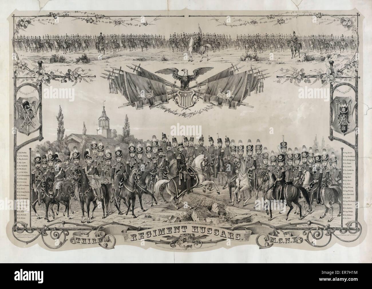 Third Regiment Hussars M.S.N.Y. Date c1856. - Stock Image