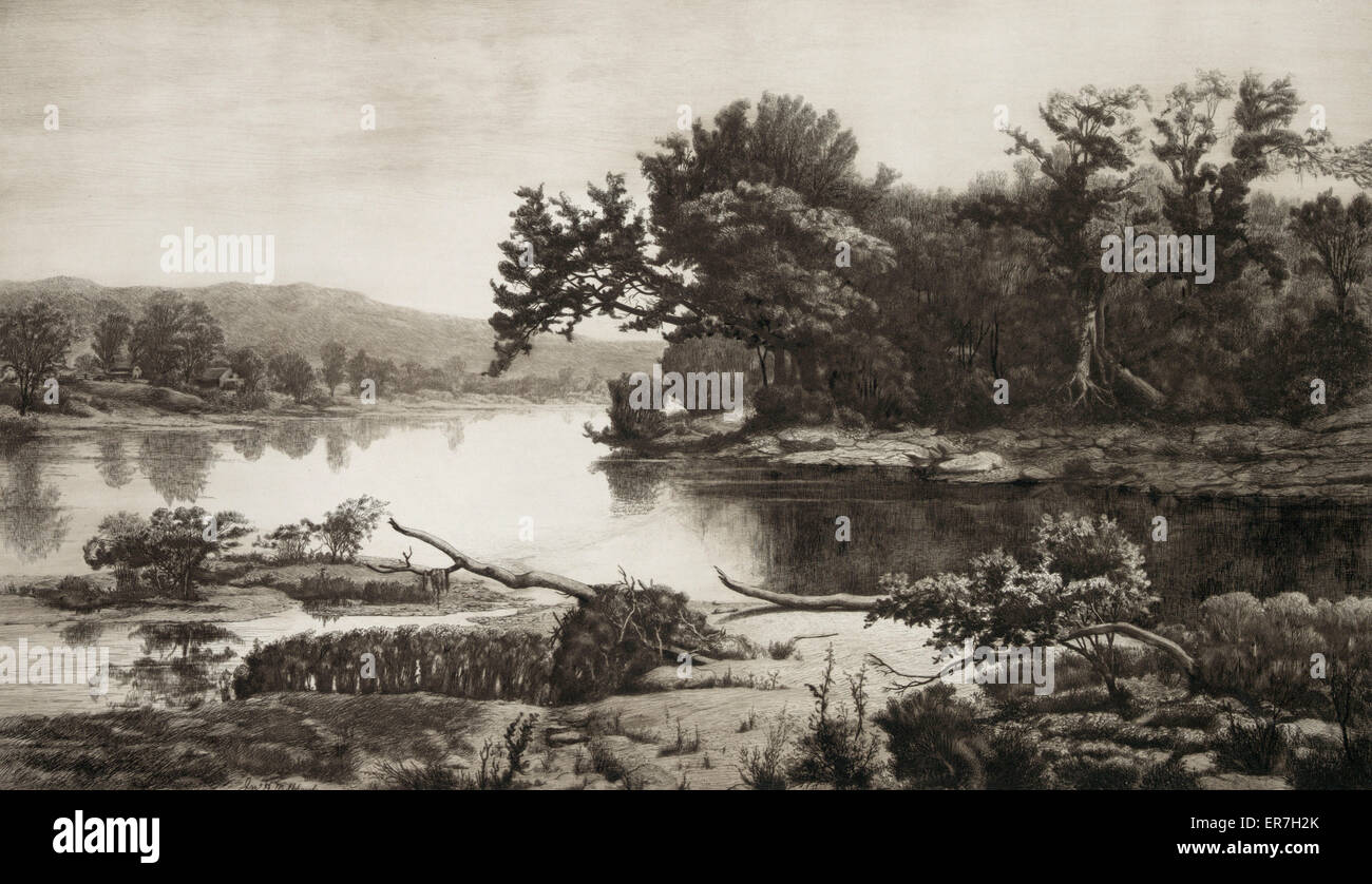 Bend in the Susquehanna. Date c1887 July 20. - Stock Image