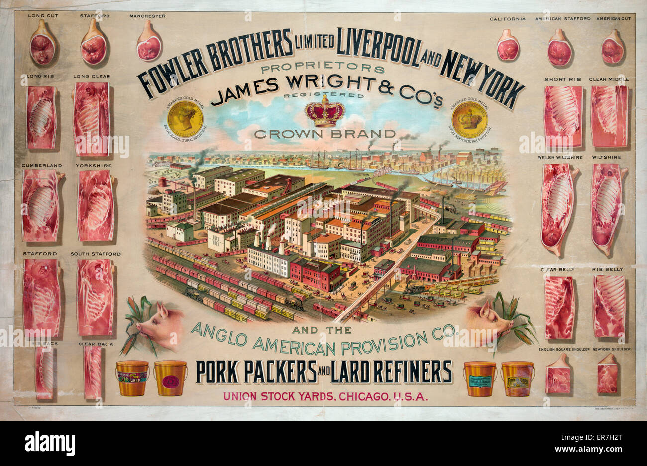 Fowler Brothers Limited Liverpool and New York. Pork packers and lard refiners. - Stock Image